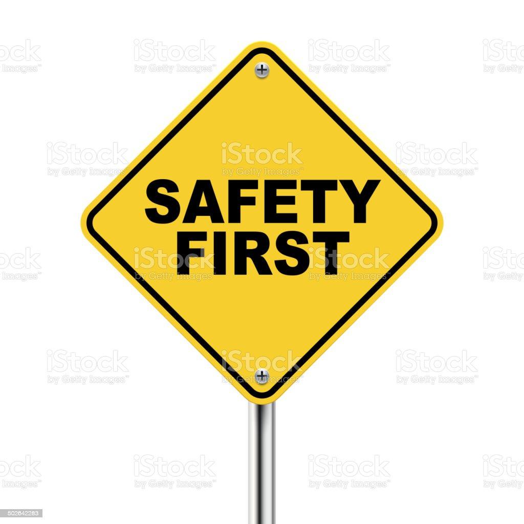 3d illustration of safety first road sign vector art illustration