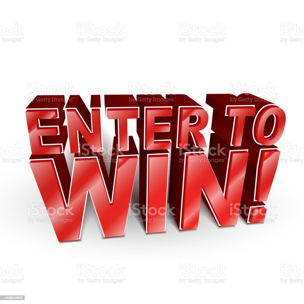 3d illustration of the words Enter to Win vector art illustration