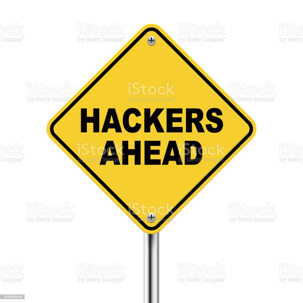 3d illustration of yellow roadsign of hackers ahead vector art illustration