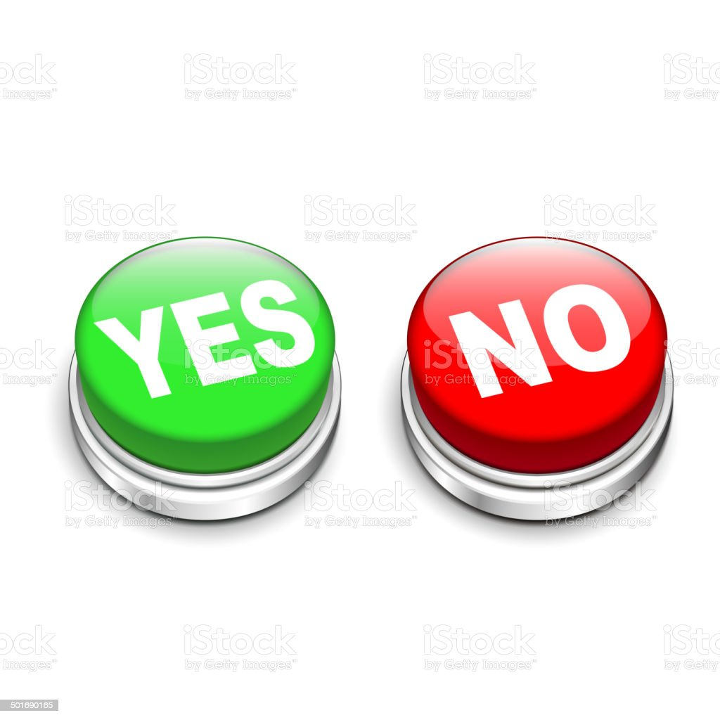 3d illustration of yes and no buttons royalty-free stock vector art