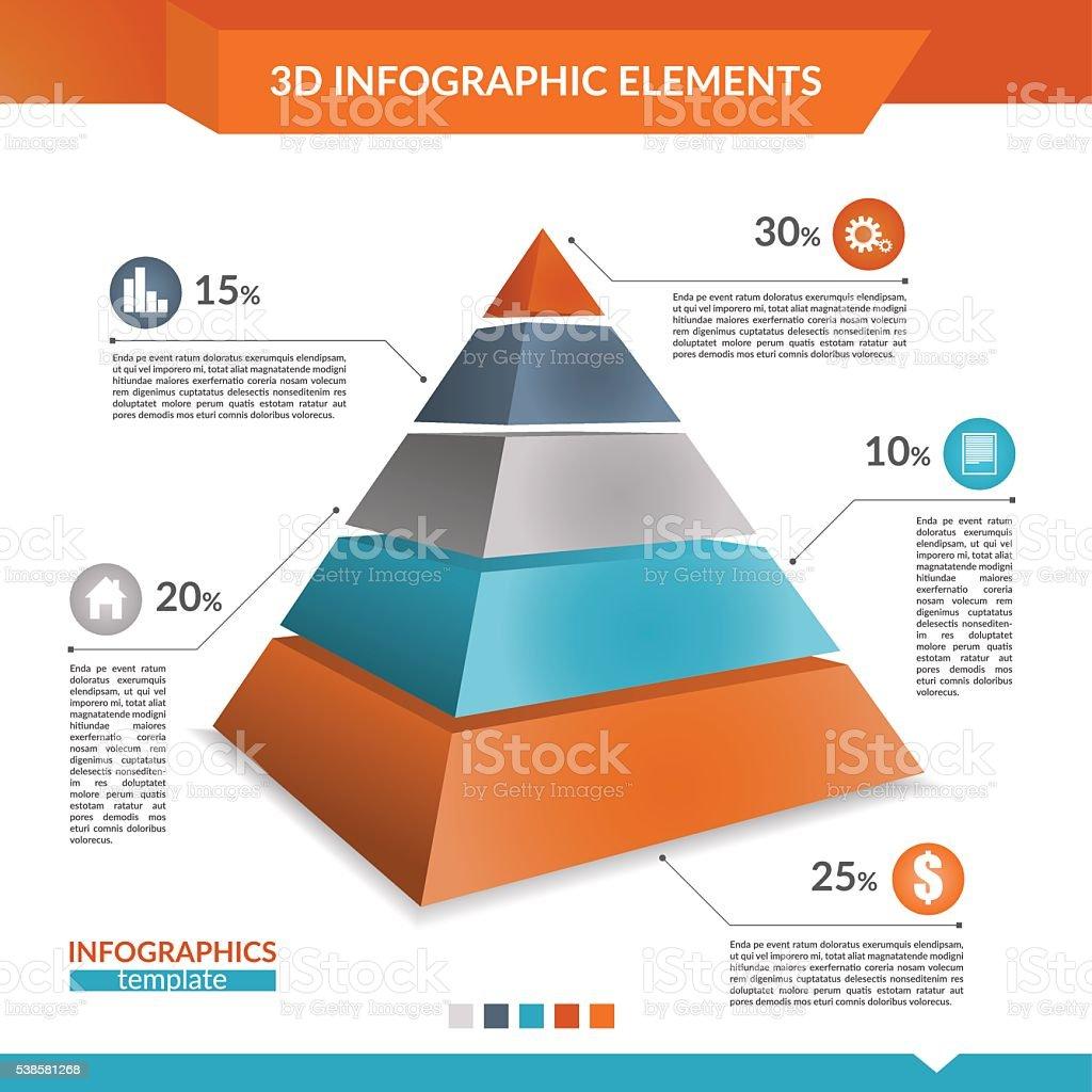 3d infographics pyramid chart. vector art illustration