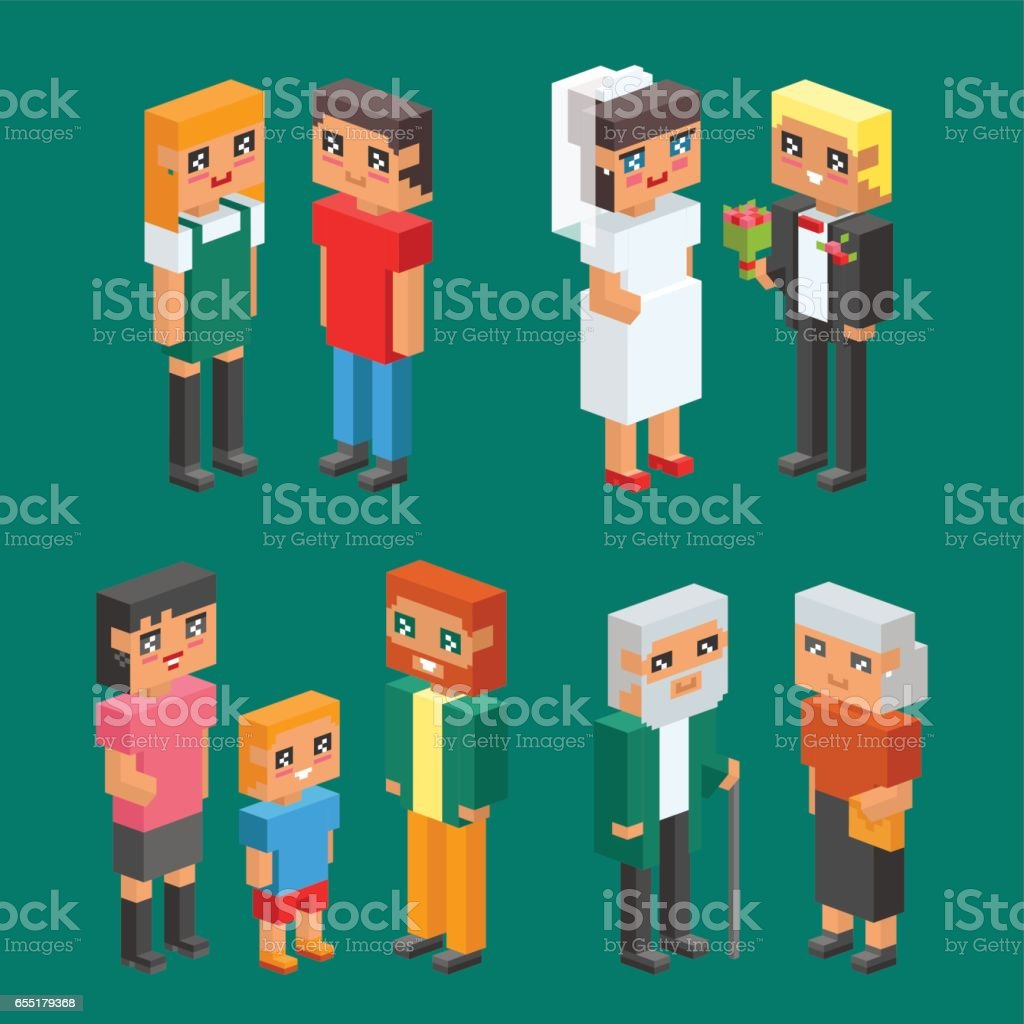3d isometric family couple children kids people concept flat icons flirting love first date wedding parenting together vector square illustration man woman vector art illustration