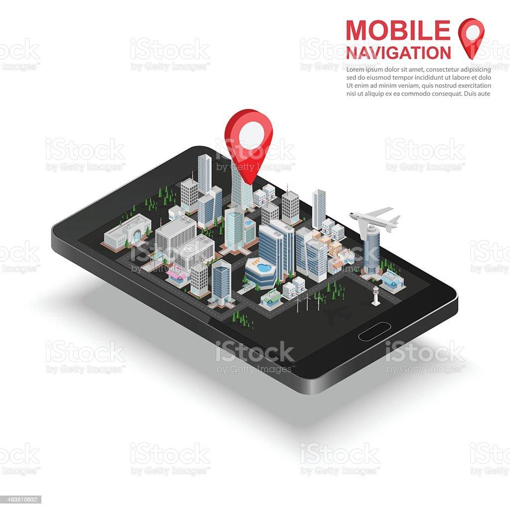 3d isometric mobile GPS navigation concept, vector vector art illustration