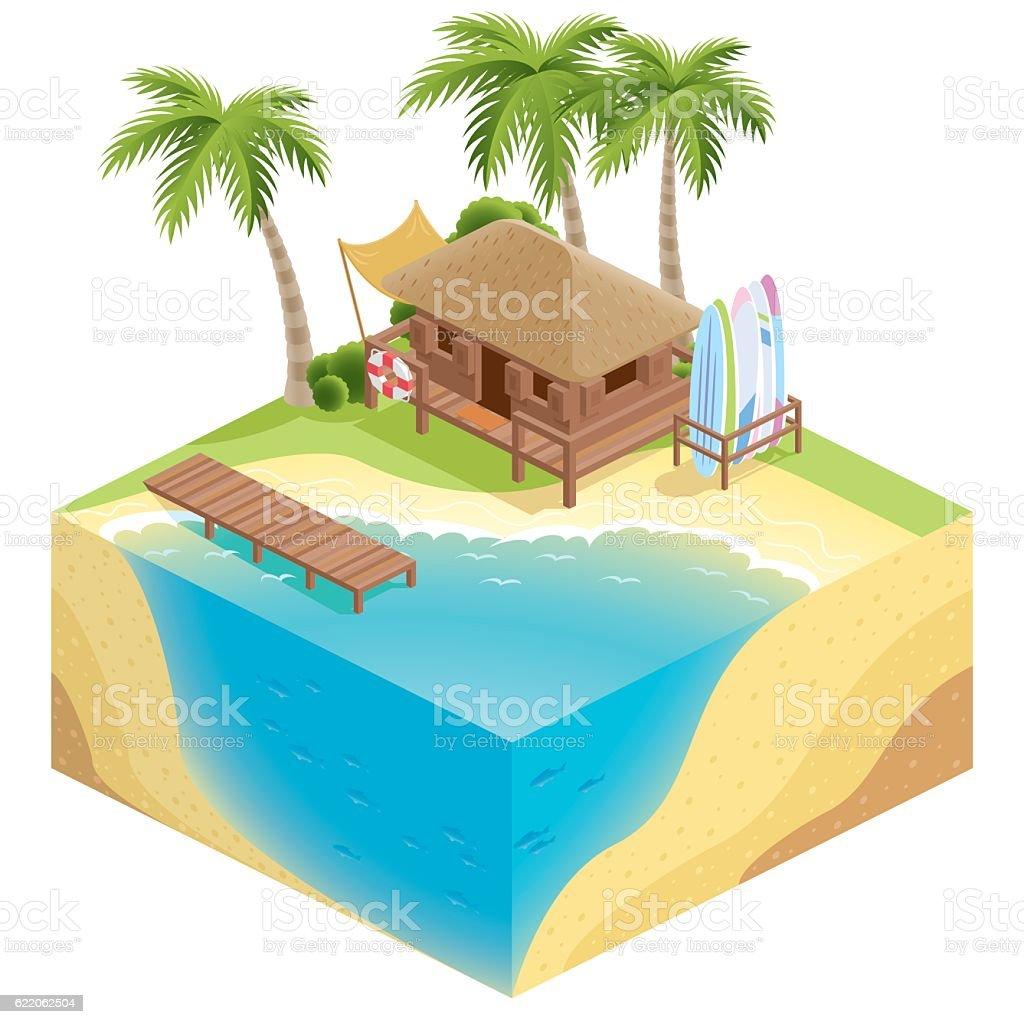 3d isometric nature beach vector art illustration