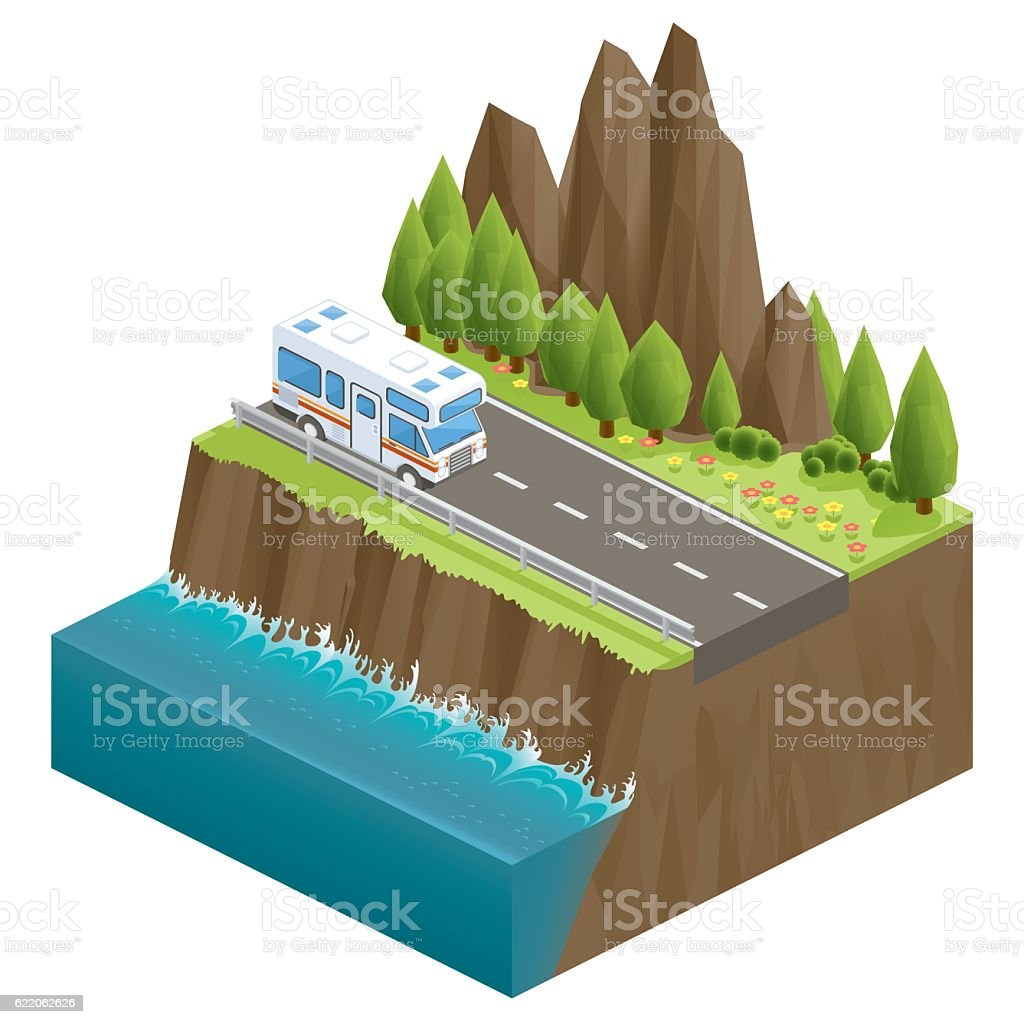 3d isometric nature cliff vector art illustration