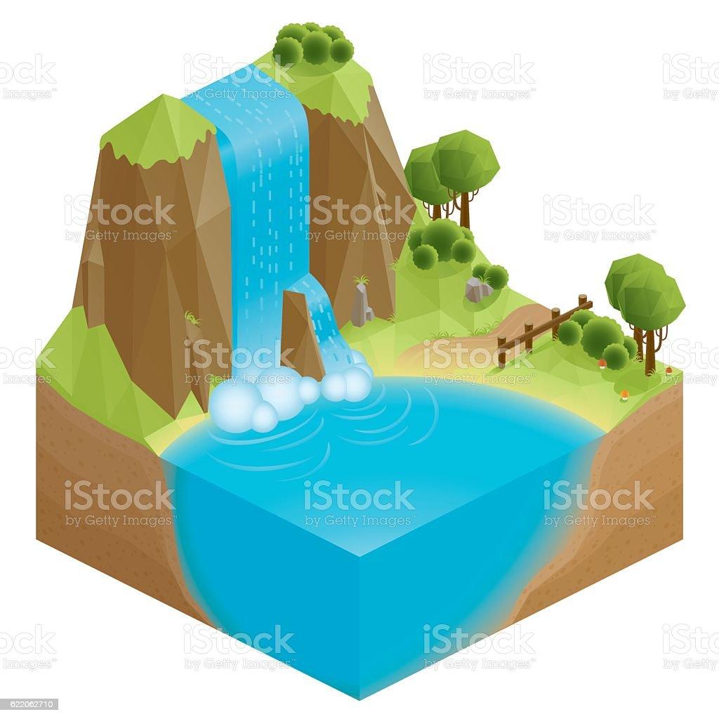 3d isometric nature waterfall vector art illustration