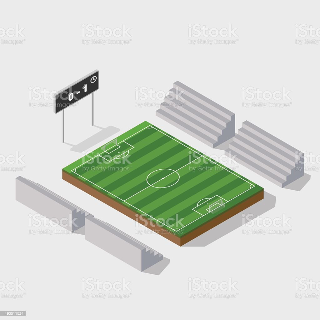 3d isometric soccer field with scoreboard,vector vector art illustration