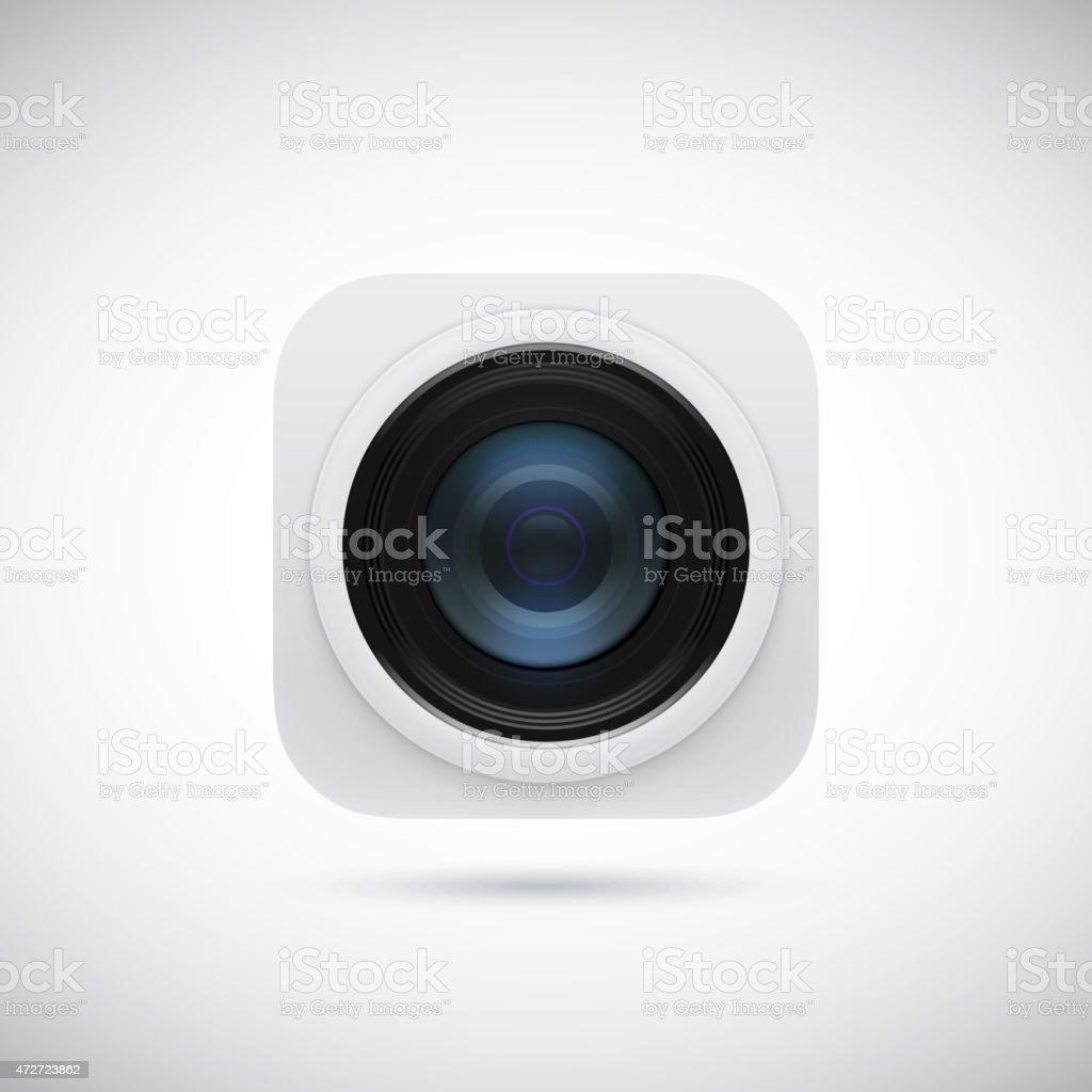 3d lens photo camera app icon vector art illustration
