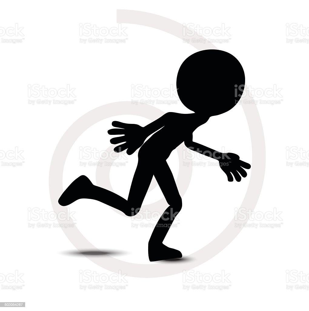 3d man in running pose royalty-free stock vector art
