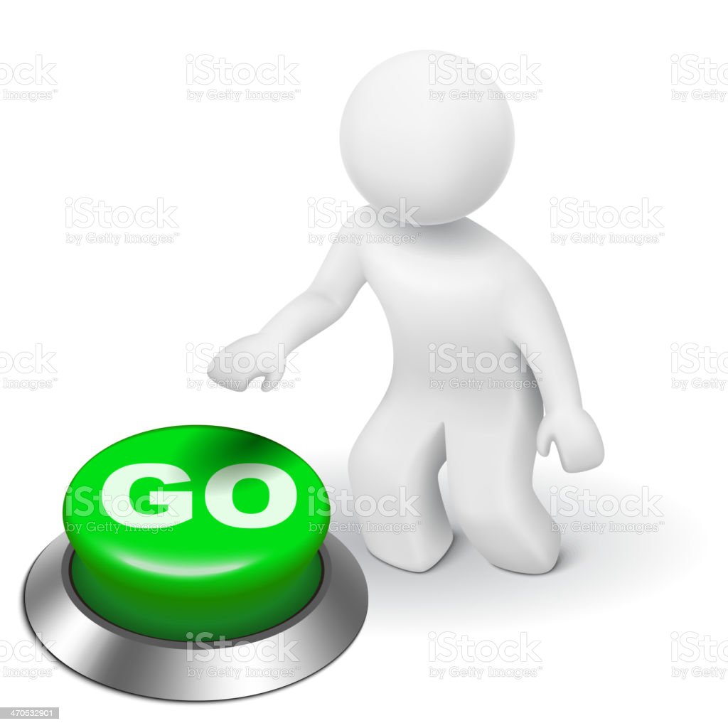 3d man is pushing the GO button vector art illustration