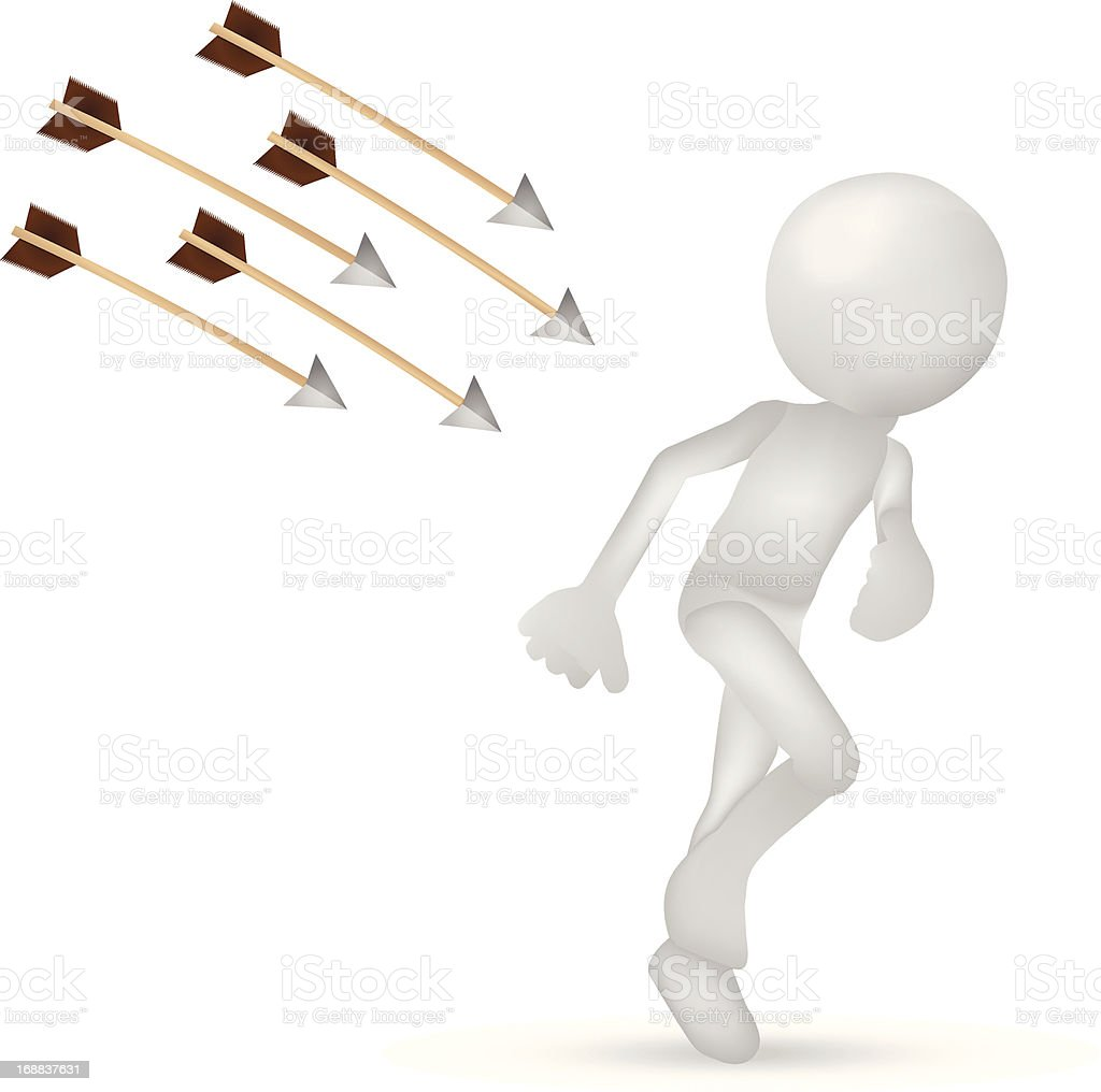 3d man running from arrows royalty-free stock vector art