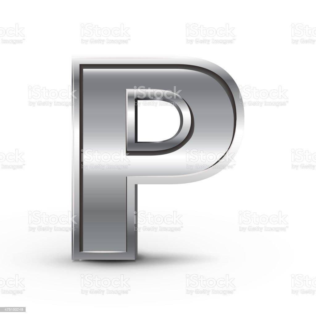 3d metal letter P vector art illustration