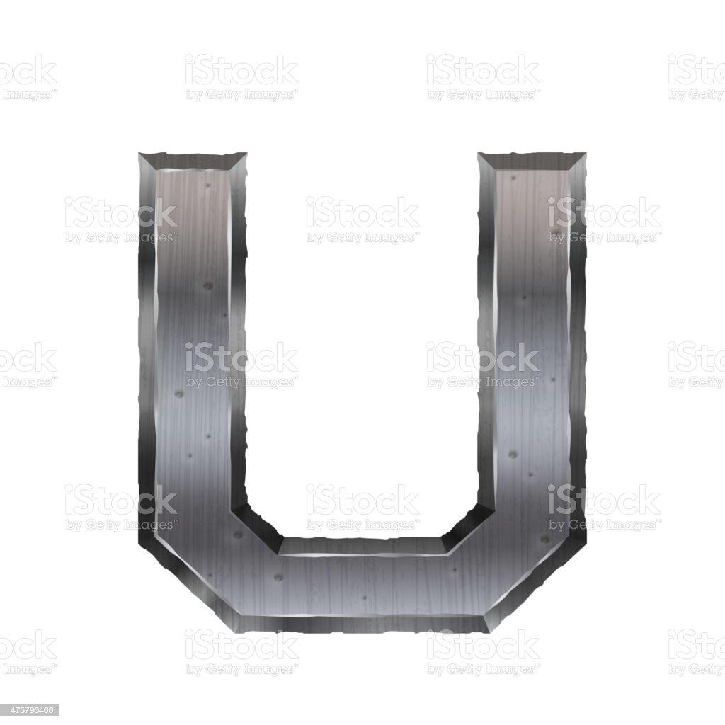 3d metal letter U vector art illustration