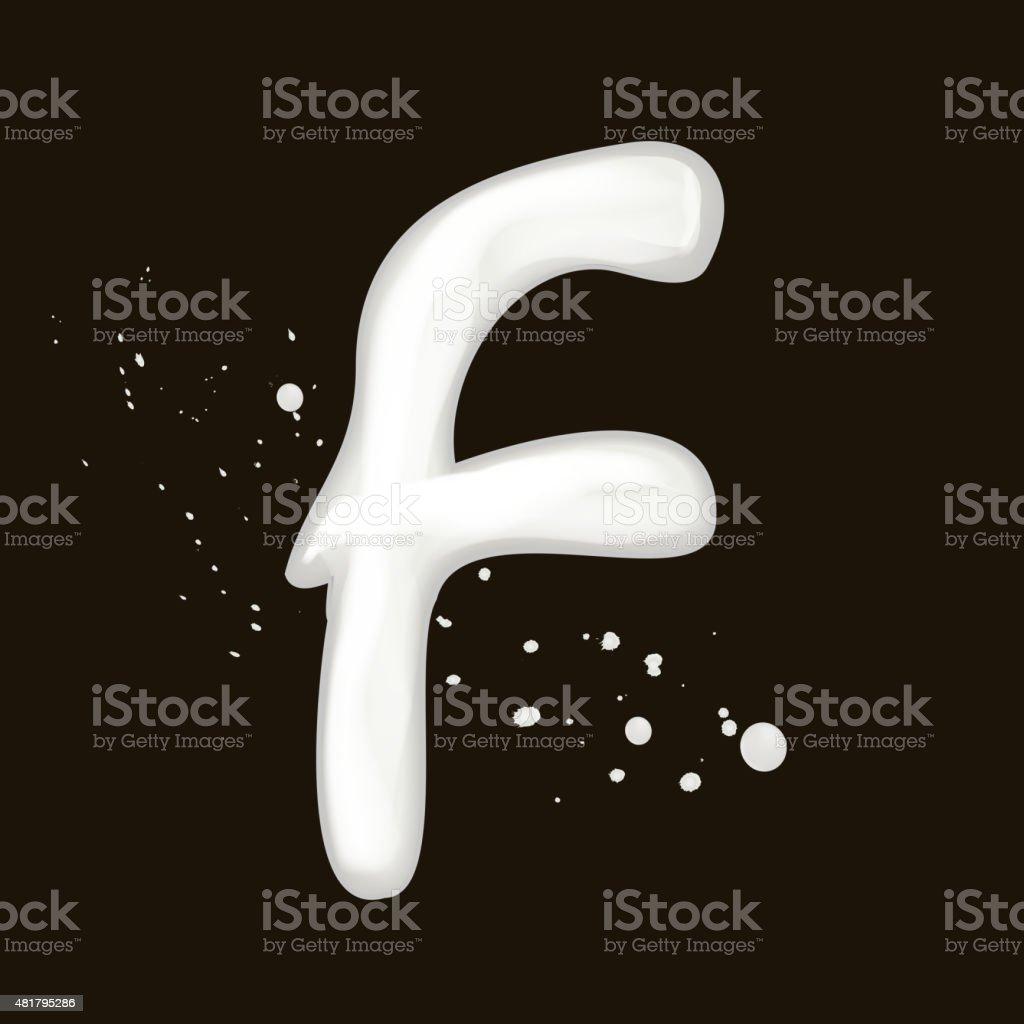 3d milk letter F vector art illustration