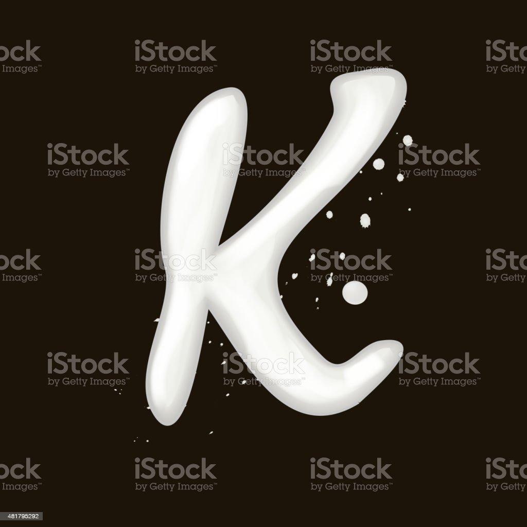 3d milk letter K vector art illustration