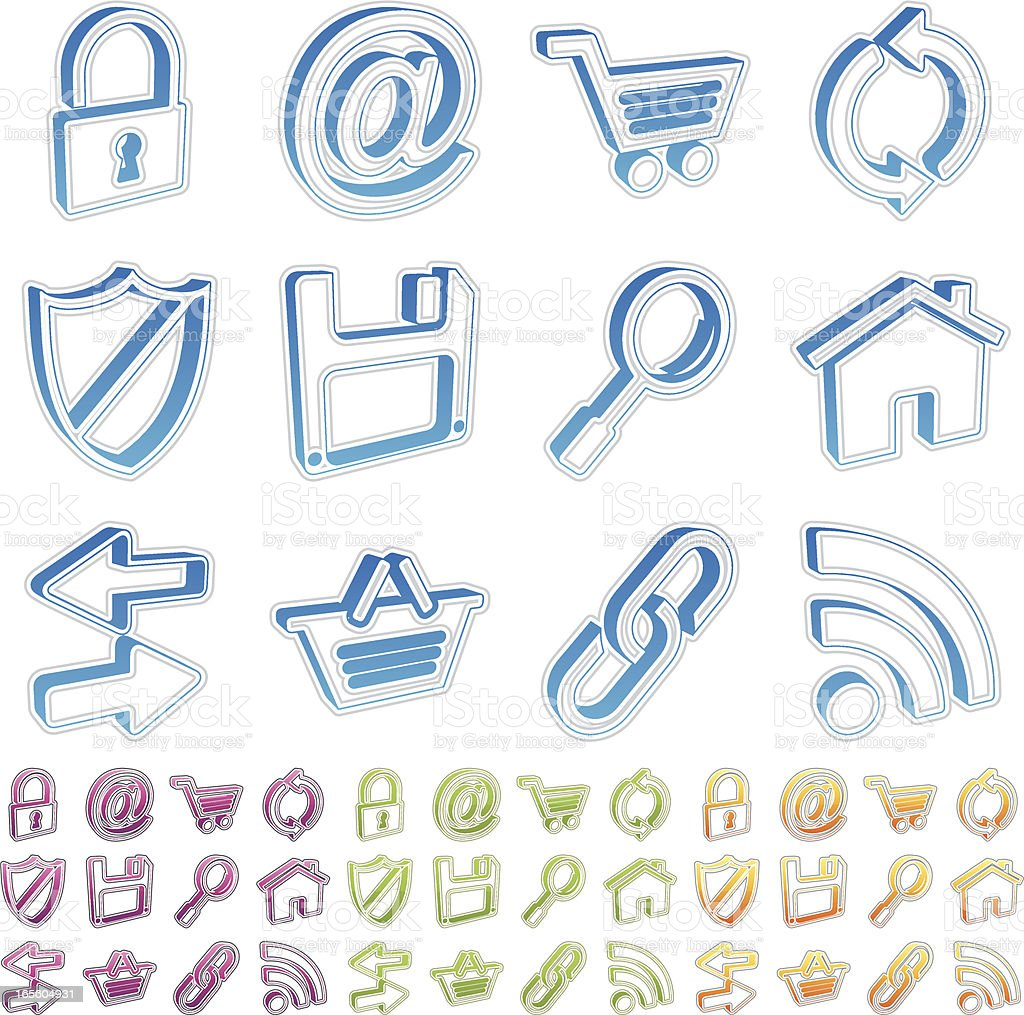3d outline icons - internet royalty-free stock vector art