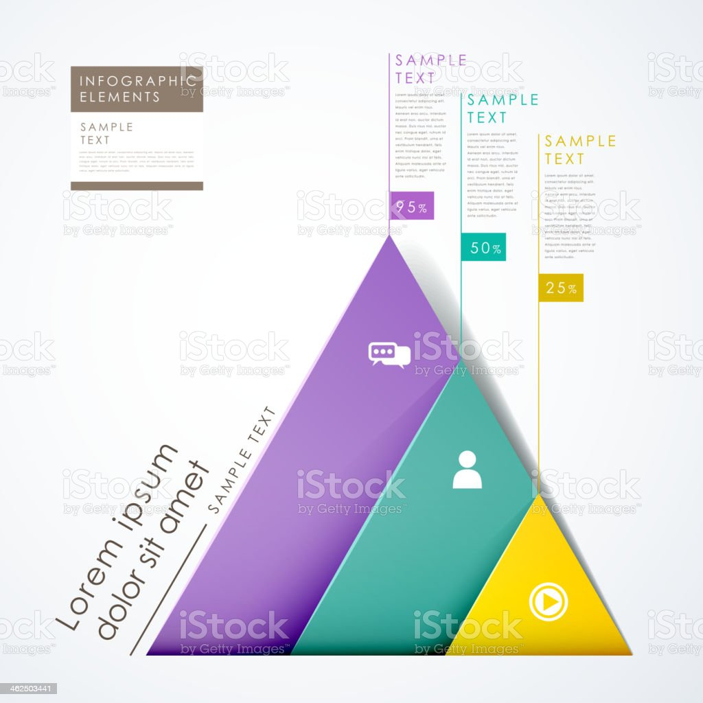 3d paper abstract pyramid infographics vector art illustration