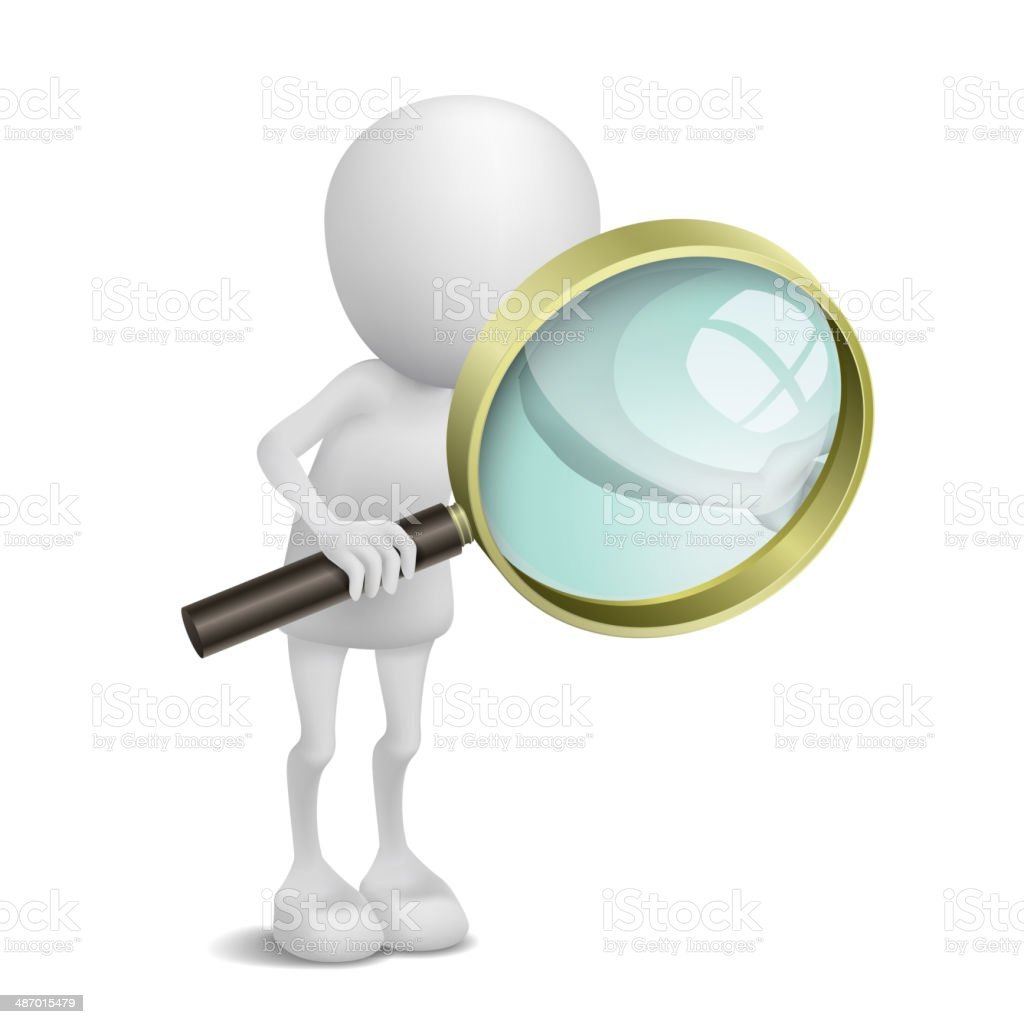 3d person is using the magnifying glass vector art illustration