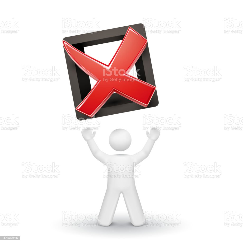 3d person looking up at a rejected mark royalty-free stock vector art