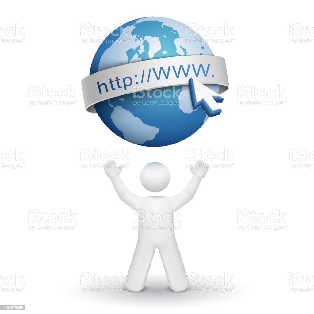 3d person looking up at an internet model vector art illustration