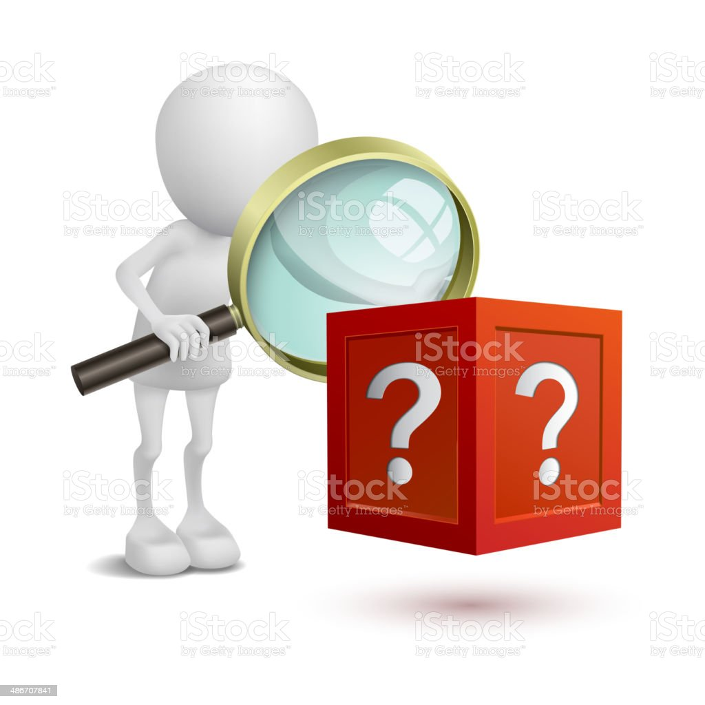 3d person watching the question box vector art illustration