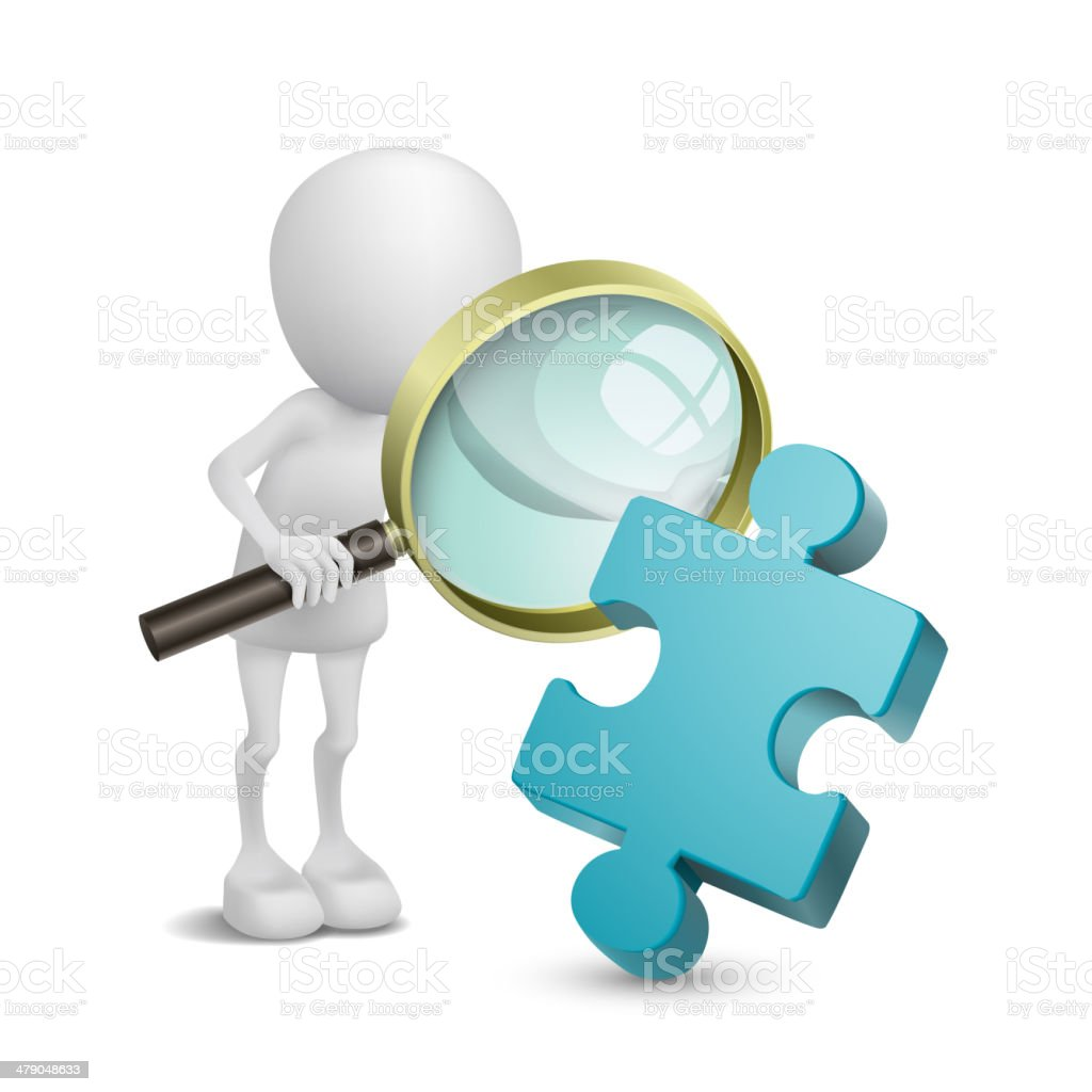 3d person with magnify examines puzzle vector art illustration