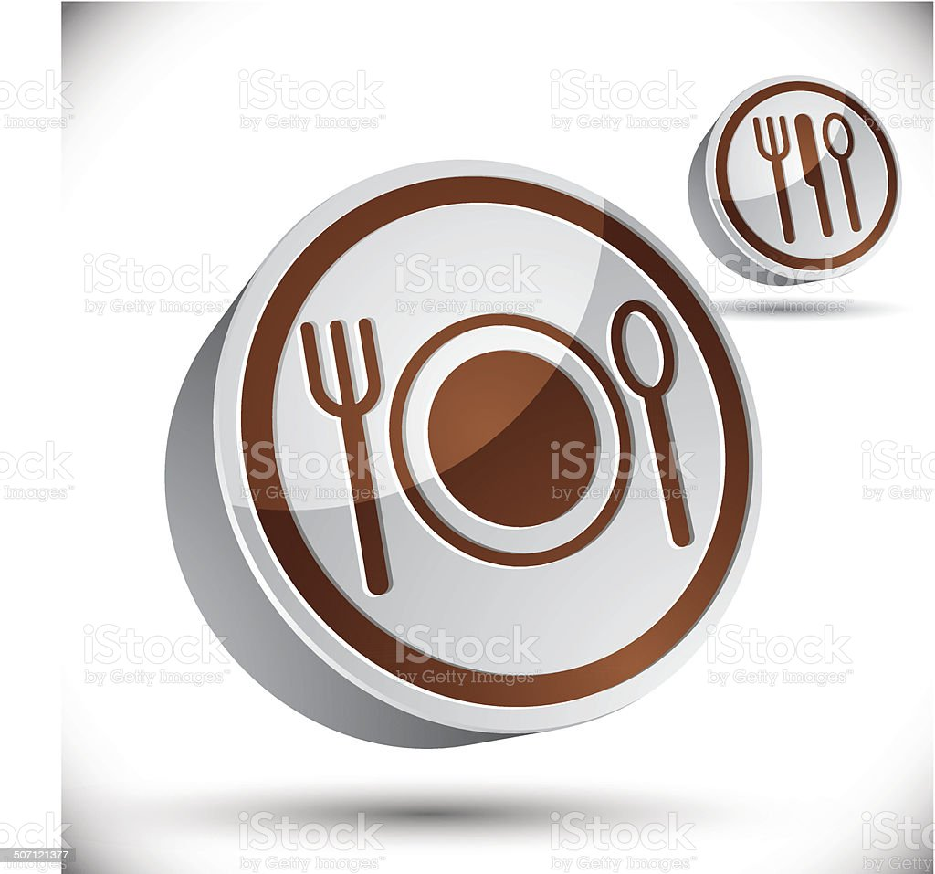3d plate with Cutlery, dimensional icon royalty-free stock vector art