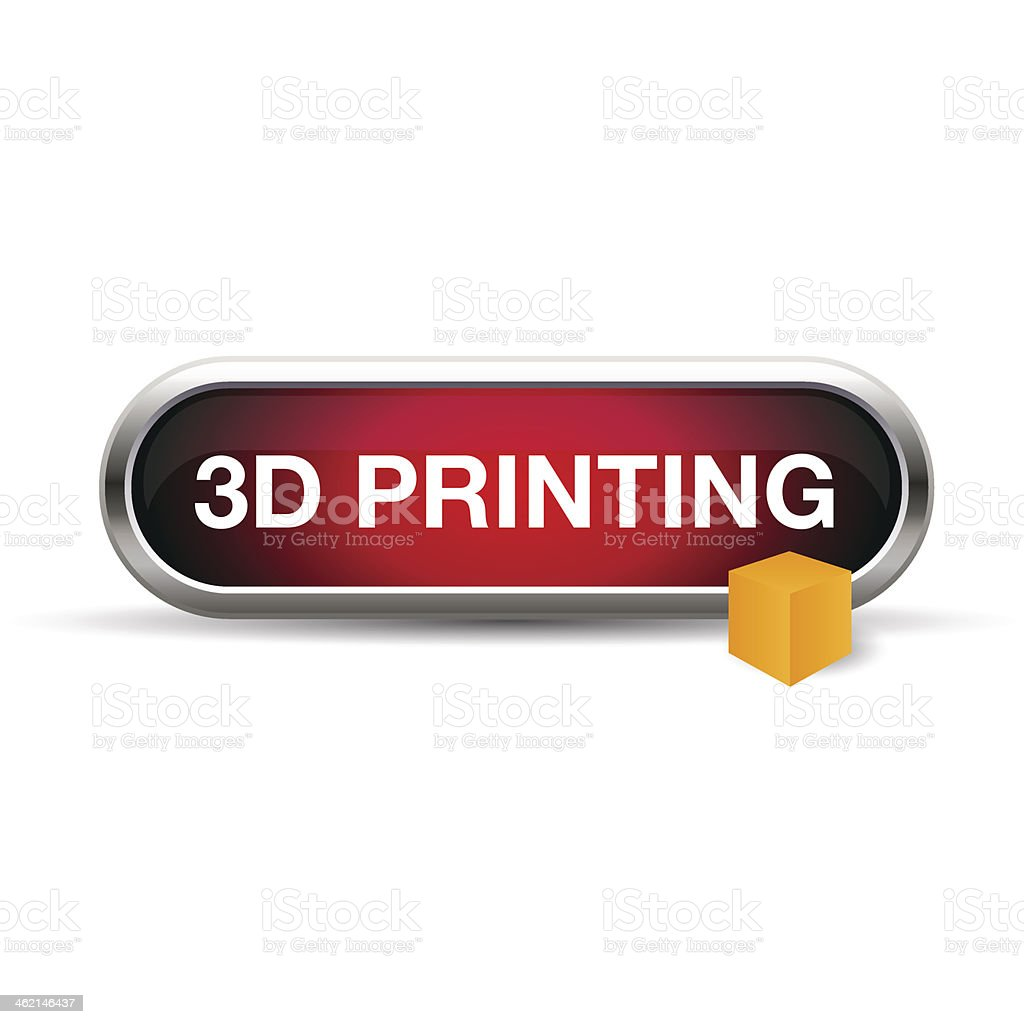 3d printing button or label vector art illustration