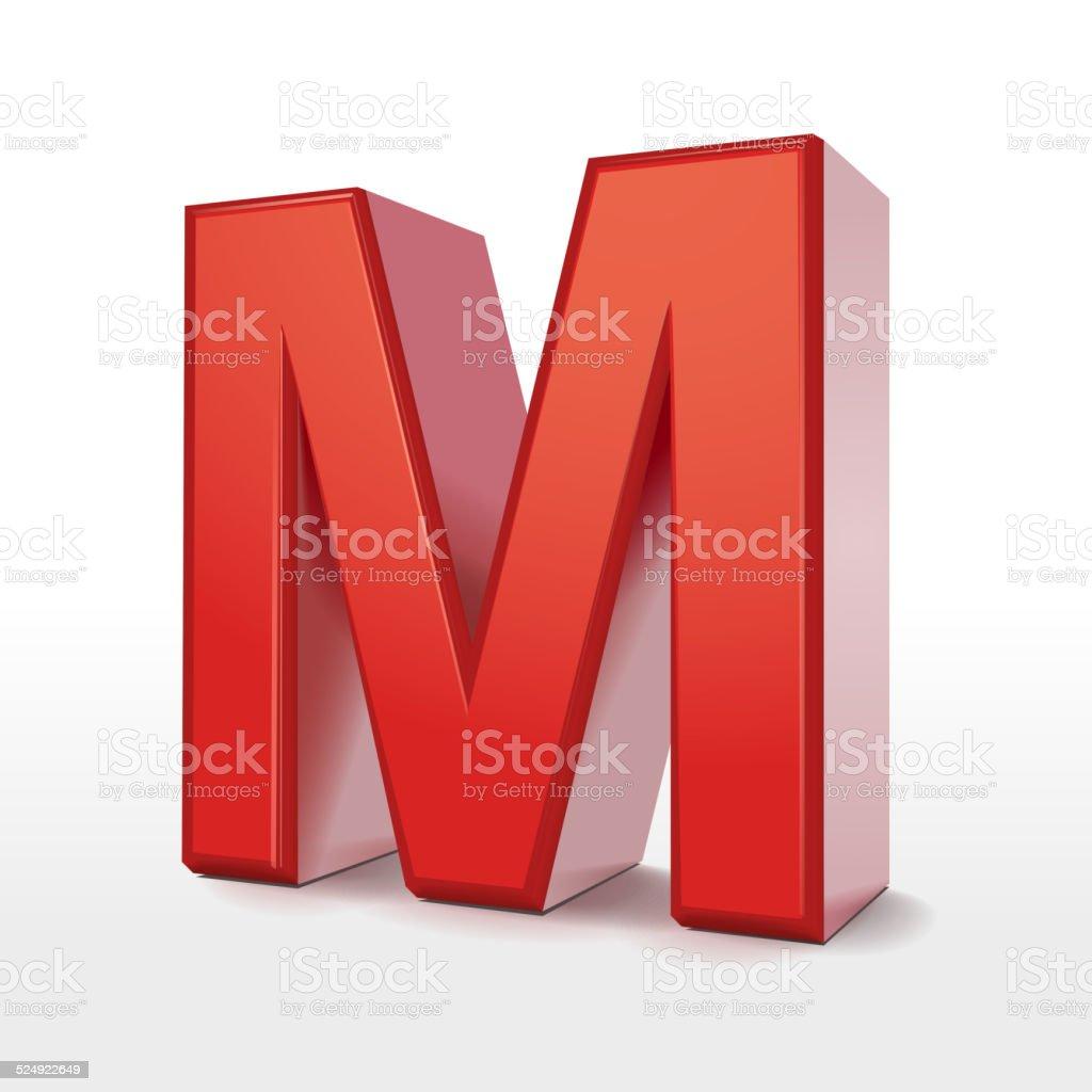 3d red letter M vector art illustration