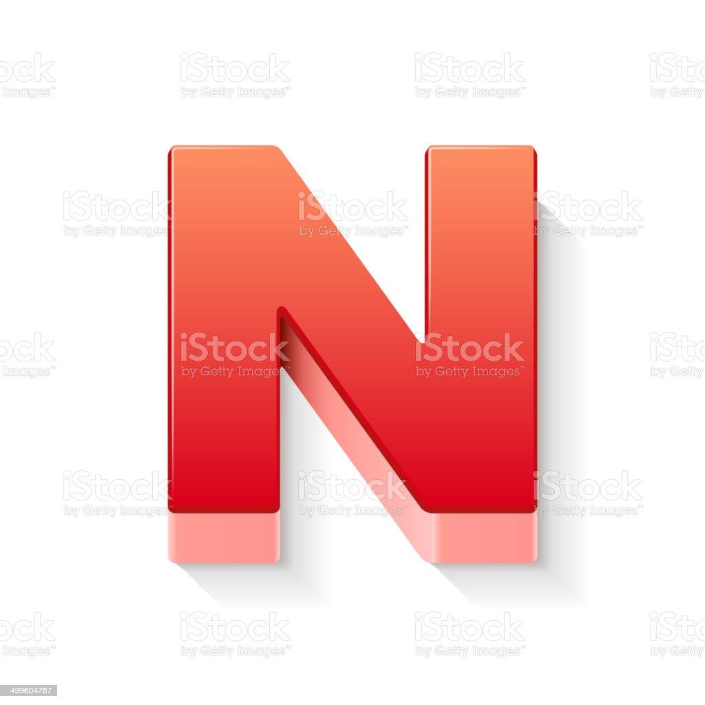 3d red letter N vector art illustration