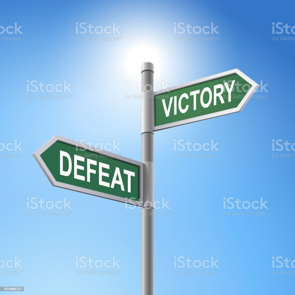 3d road sign saying defeat and victory royalty-free stock vector art
