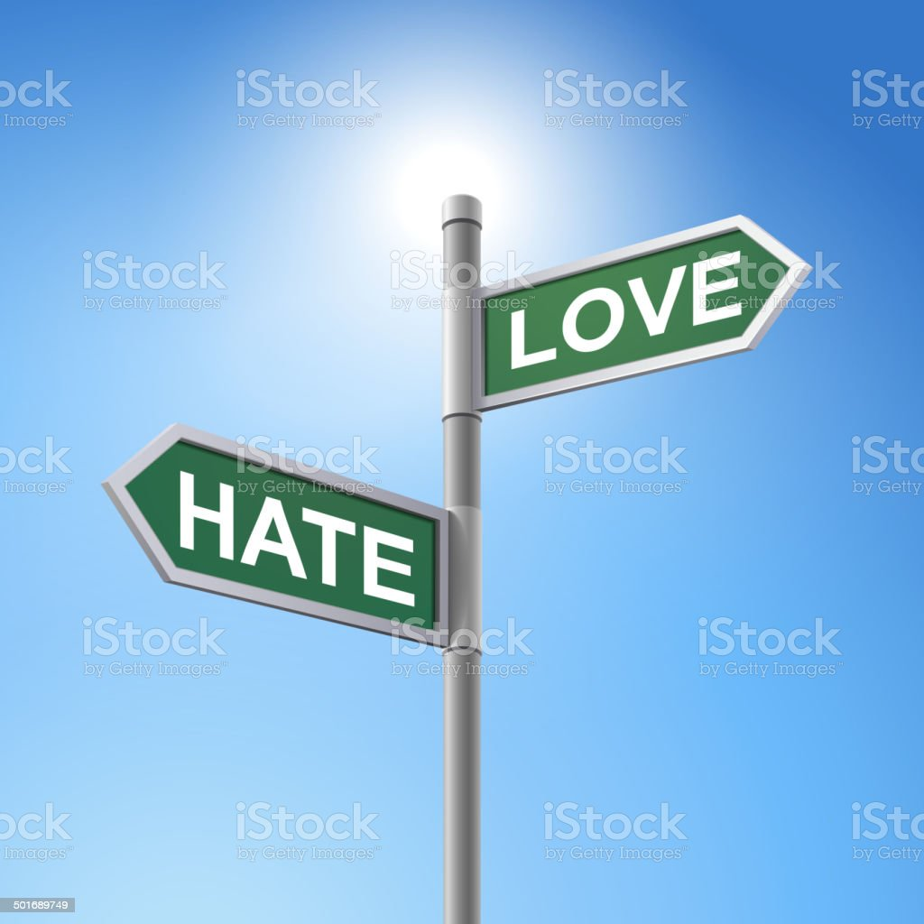 3d road sign saying hate and love royalty-free stock vector art