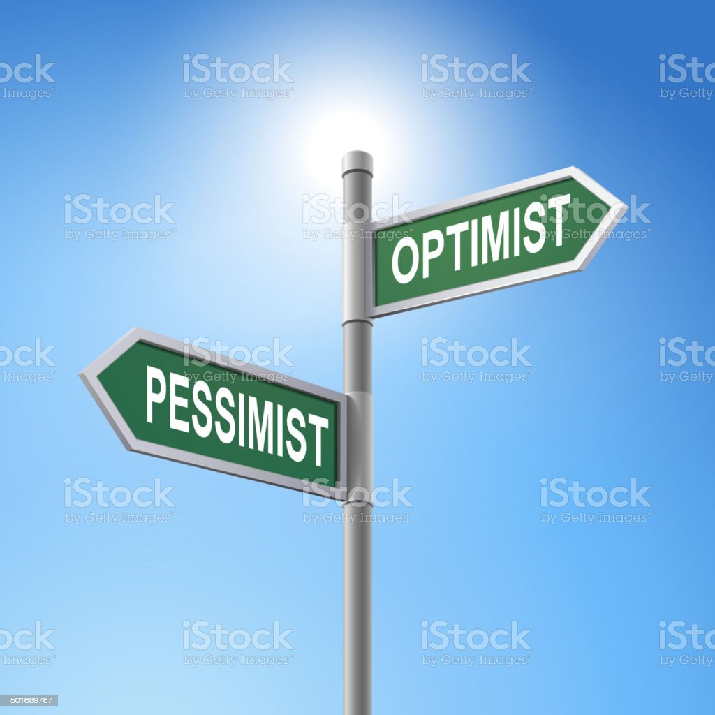 3d road sign saying pessimist and optimist royalty-free stock vector art