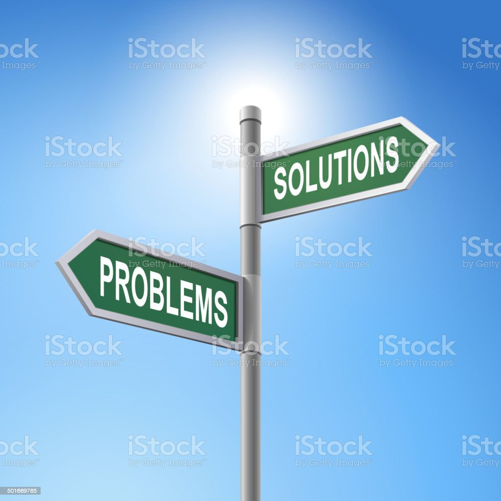 3d road sign saying problems and solutions royalty-free stock vector art