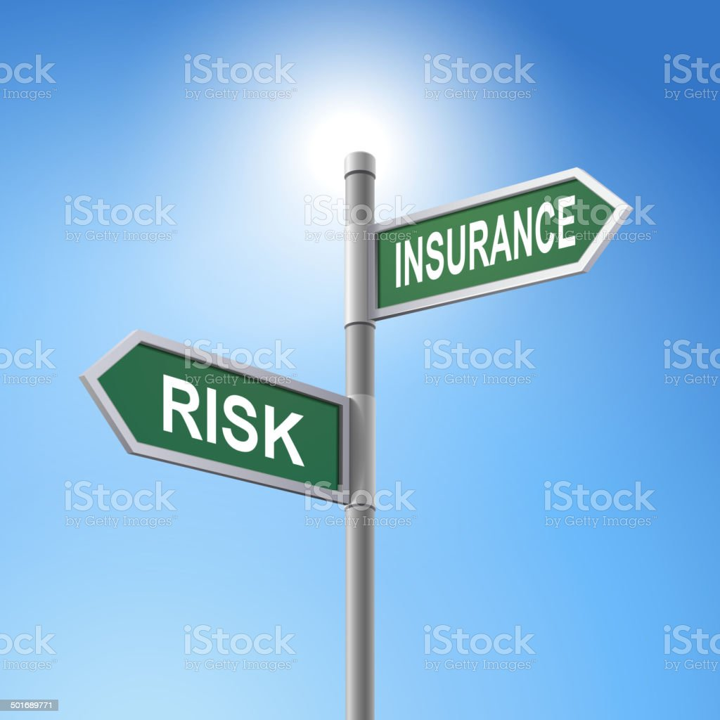 3d road sign saying risk and insurance royalty-free stock vector art