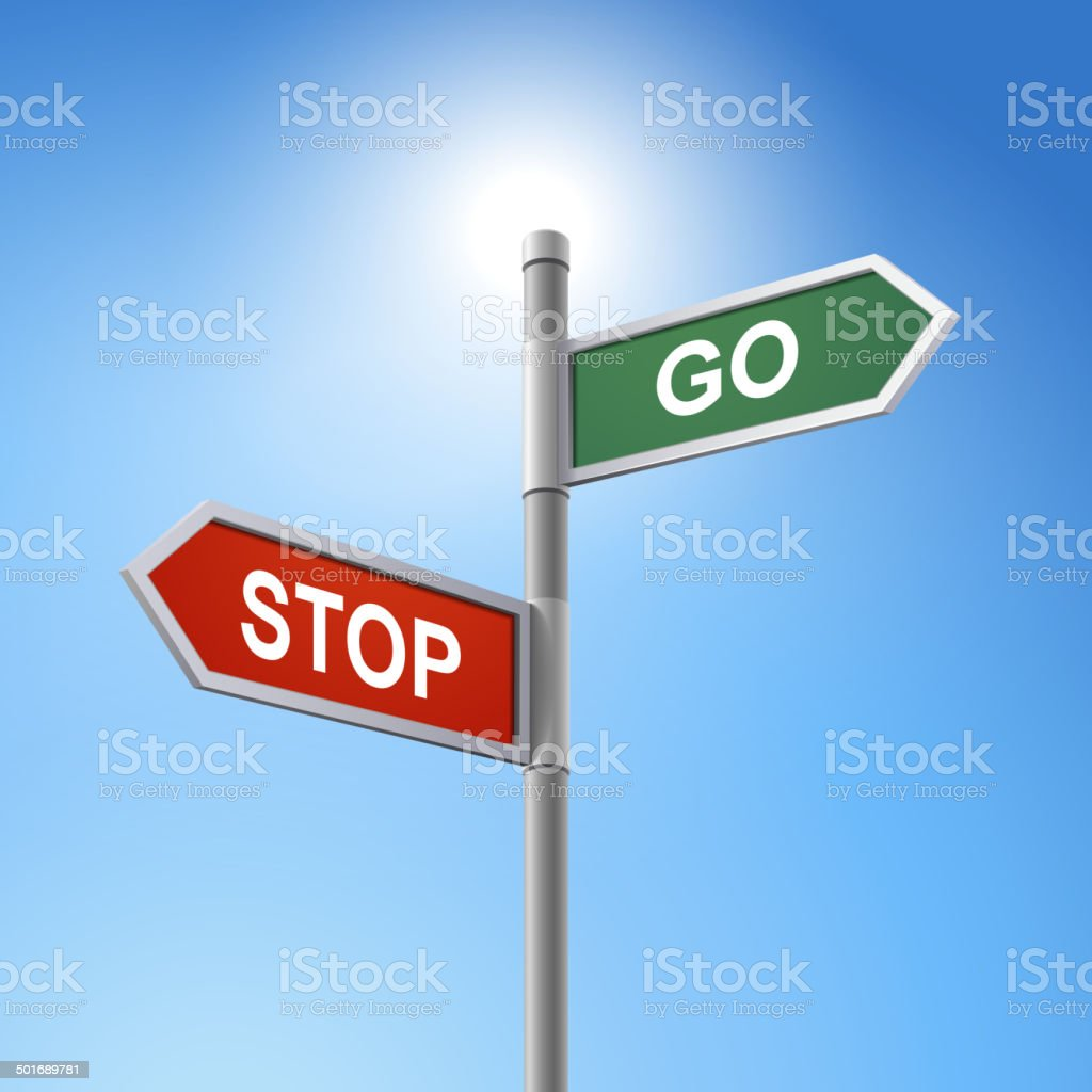3d road sign saying stop and go royalty-free stock vector art