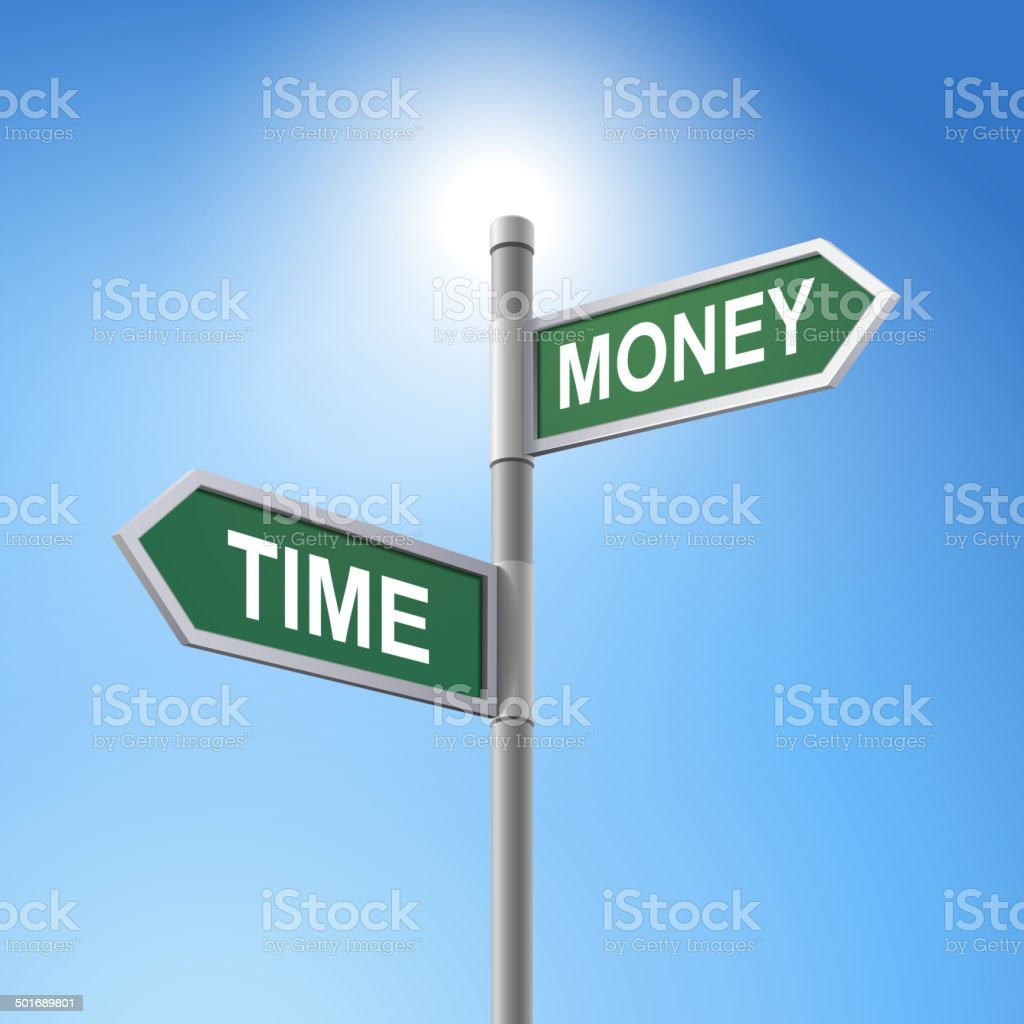 3d road sign saying time and money royalty-free stock vector art