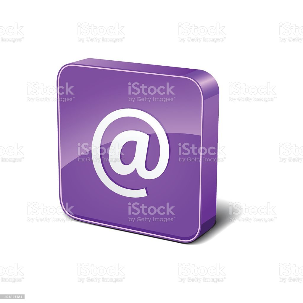 AT 3d Rounded Corner Purple Vector Icon Button royalty-free stock vector art