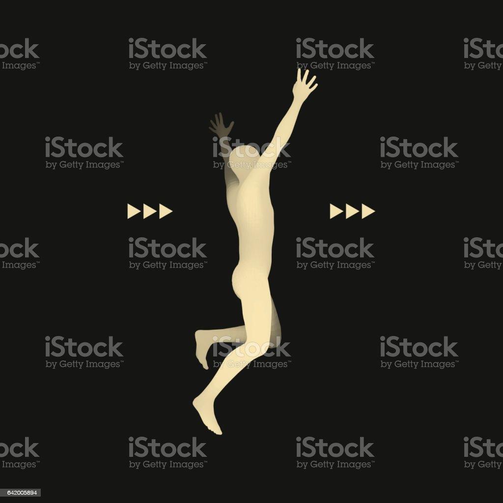 3d Running Man. Design for Sport. vector art illustration