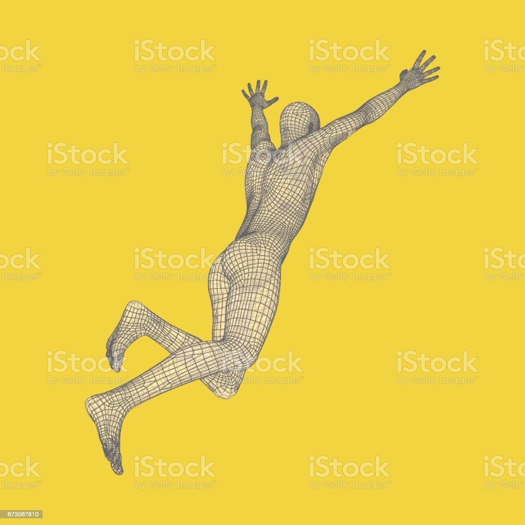 3d running man. Human body wire model. Sport symbol. Low-poly man in motion. Vector illustration. vector art illustration