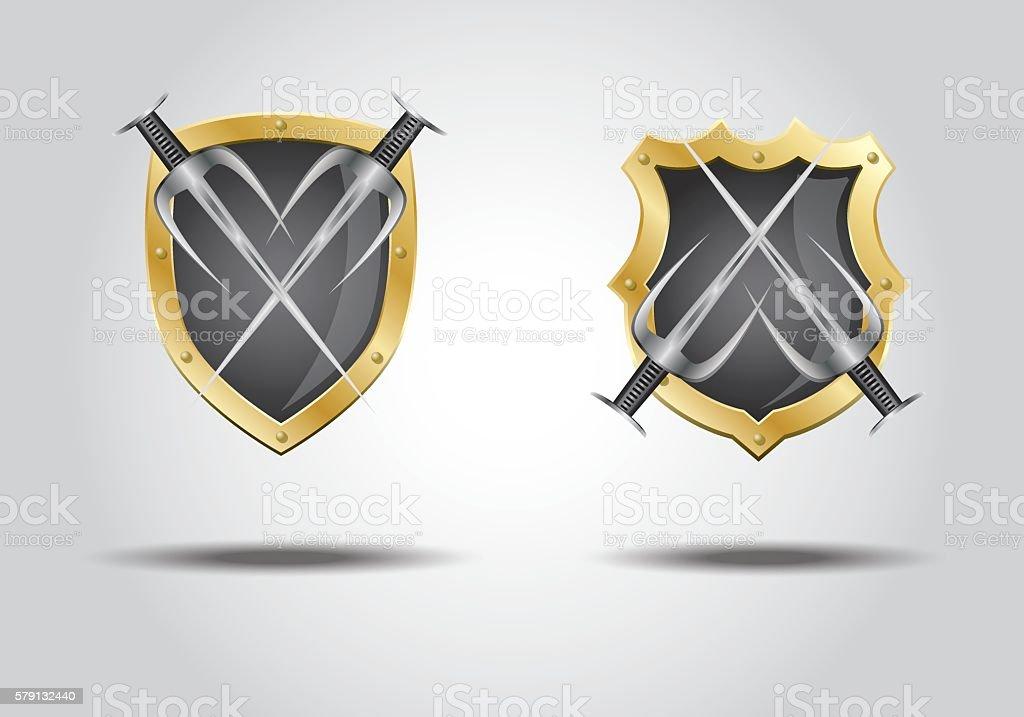 3d shield trisula vector art illustration