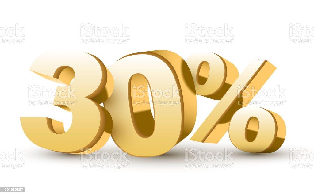 3d shiny golden discount collection - 30 percent vector art illustration