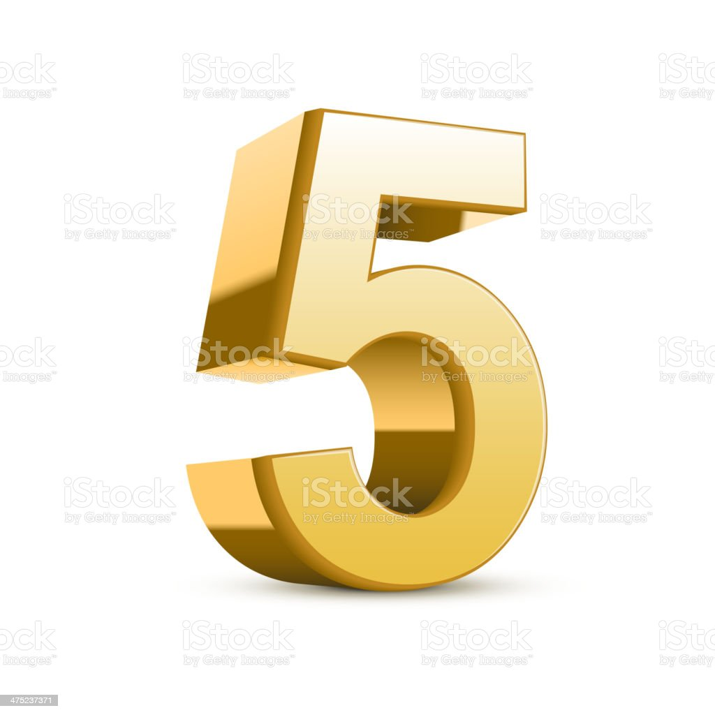 3d shiny golden number 5 vector art illustration
