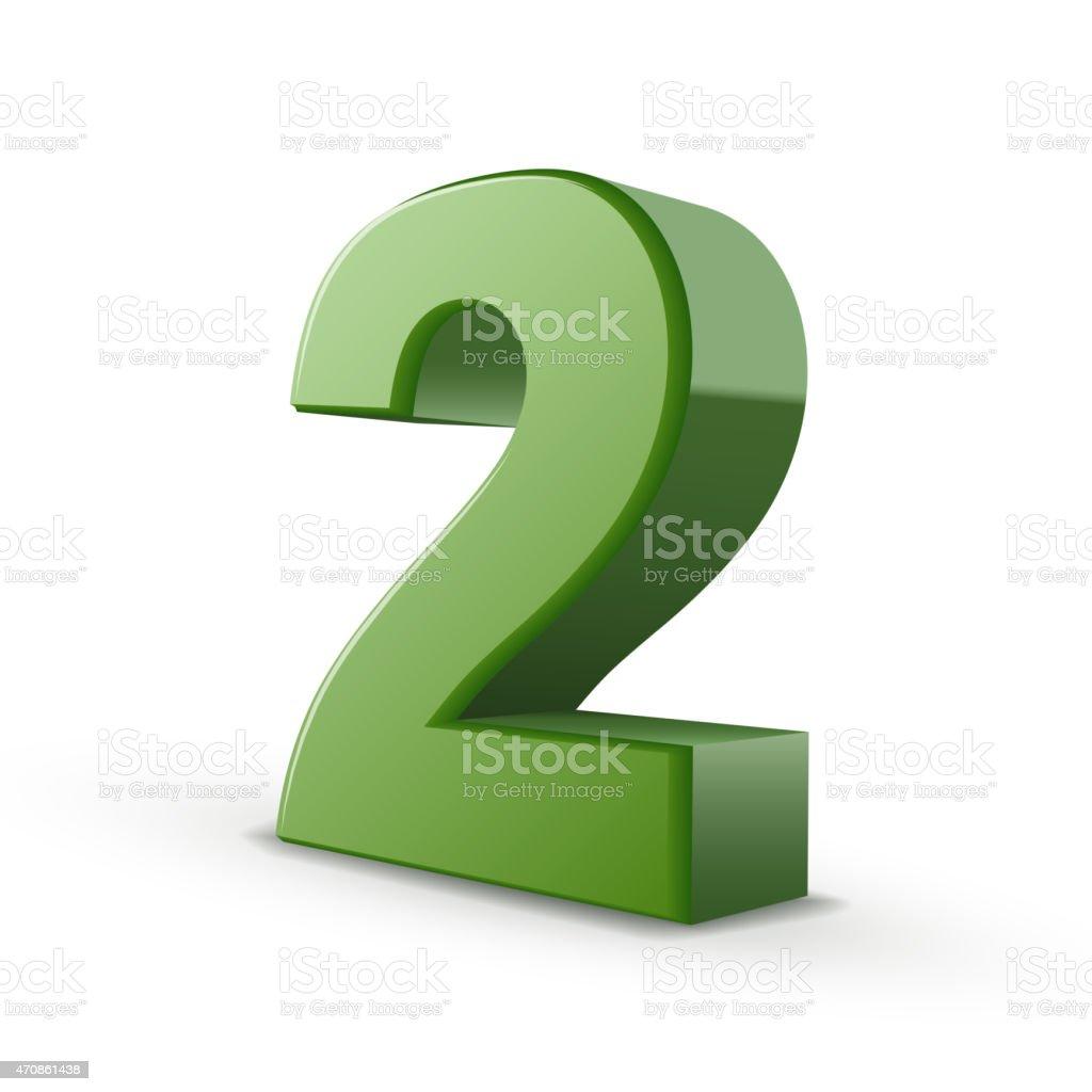 3d shiny green number 2 vector art illustration