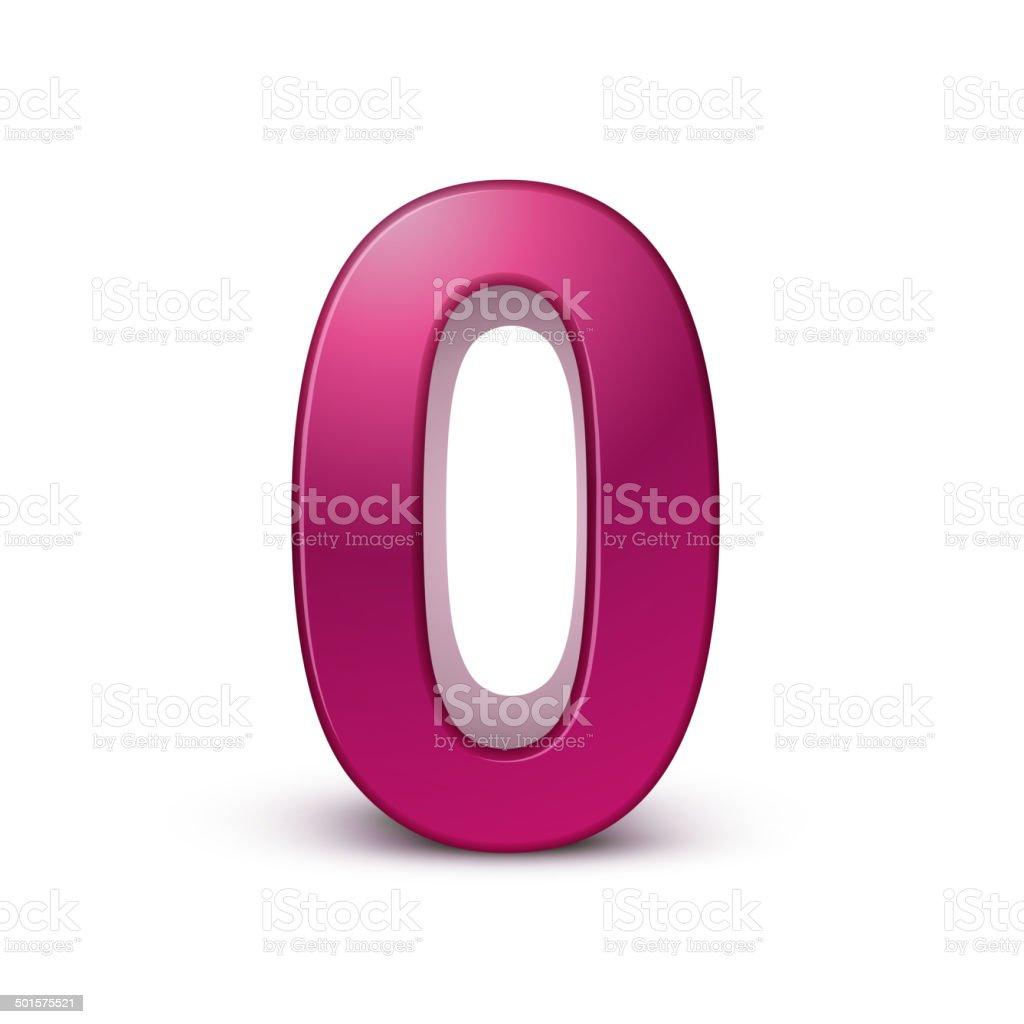 3d shiny pink number 0 vector art illustration
