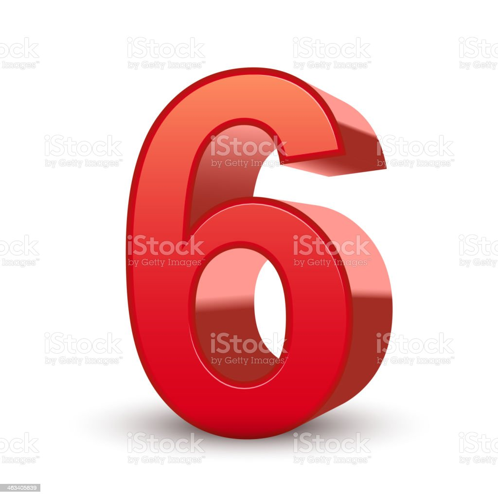 3d shiny red number 6 royalty-free stock vector art