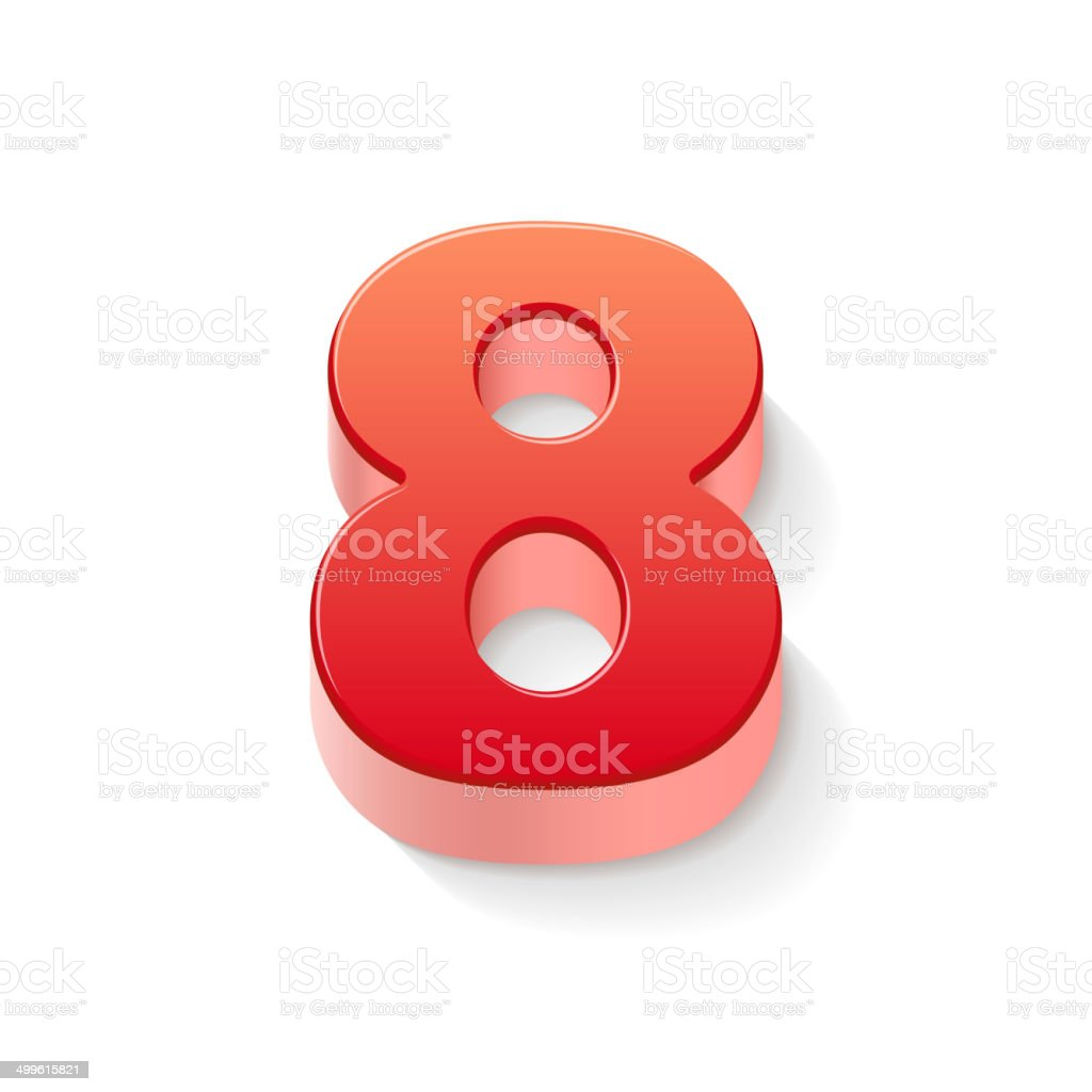 3d shiny red number 8 vector art illustration