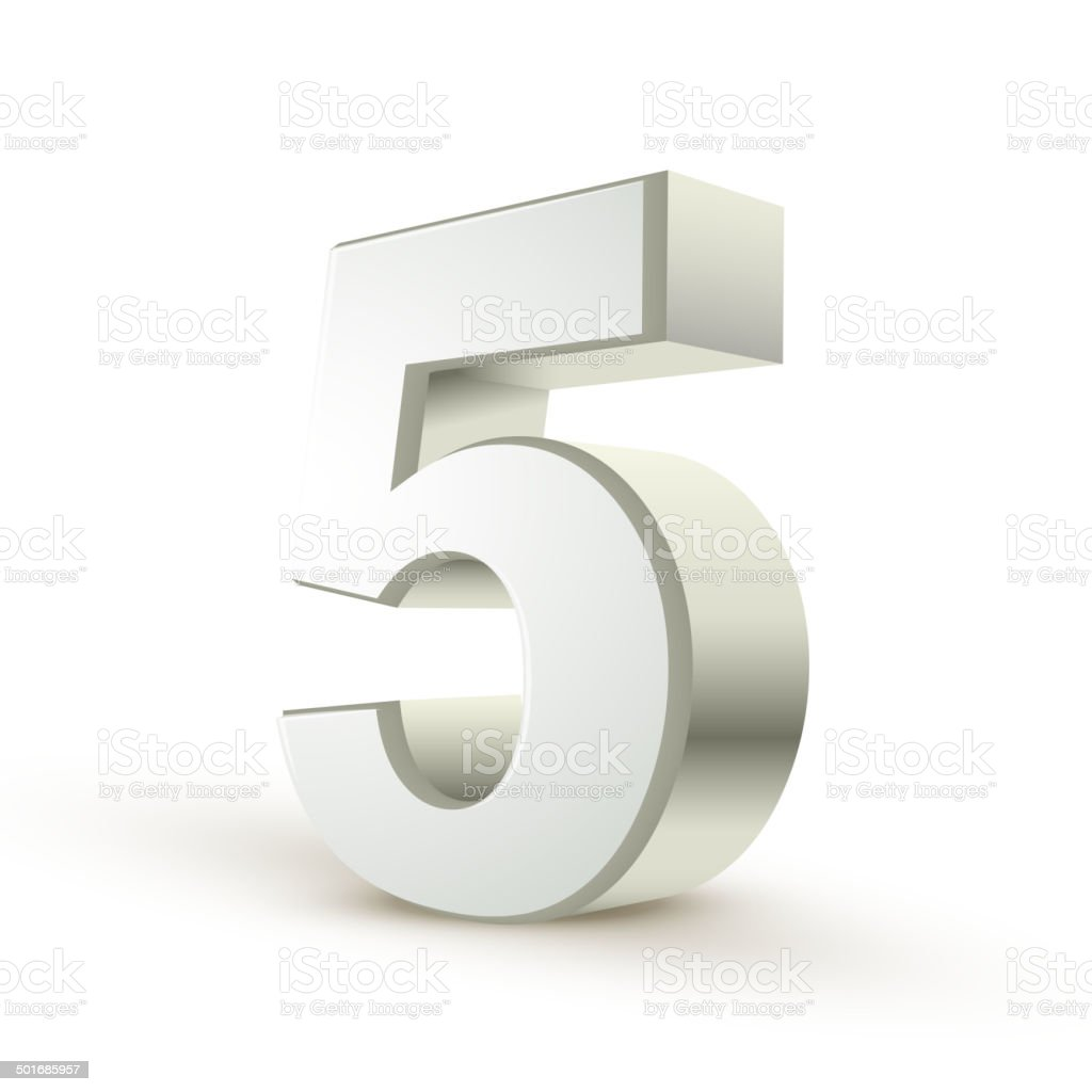 3d shiny silver number 5 vector art illustration