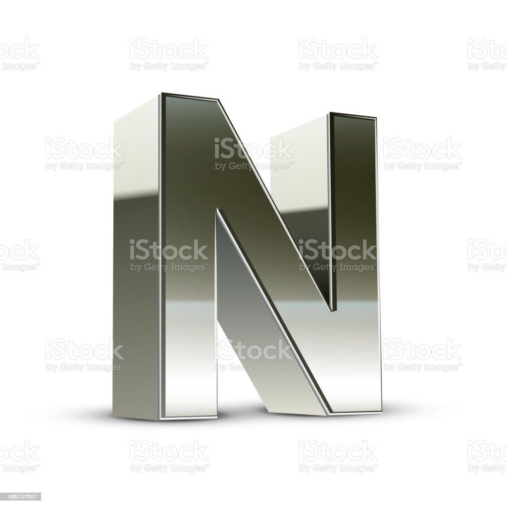 3d silver steel letter N vector art illustration