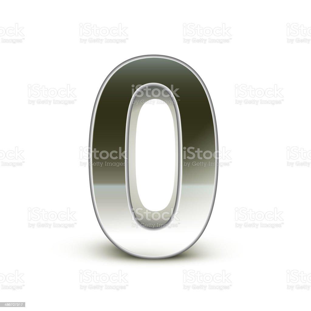 3d silver steel number 0 vector art illustration
